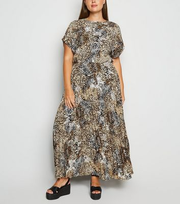 Curves Brown Leopard Print Pleated Maxi Dress