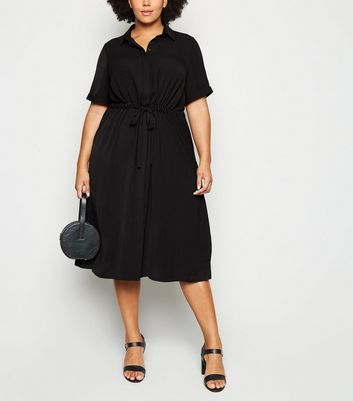 Curves Black Drawstring Waist Midi Shirt Dress