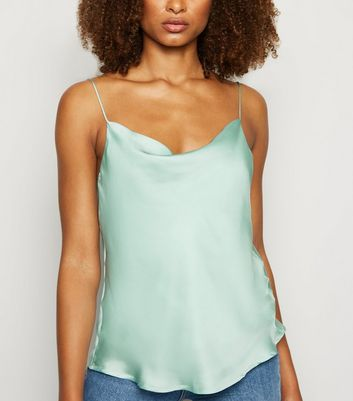 Urban Bliss Green Satin Cowl Neck Cami