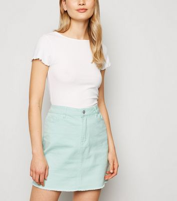 Urban Bliss Mint Green Denim Mini Skirt