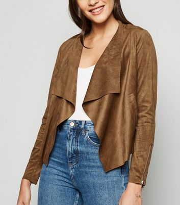 Urban Bliss Tan Suedette Waterfall Jacket