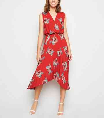 Red Floral Pleated Hanky Hem Midi Dress