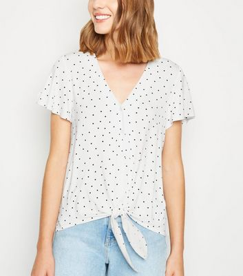 Black Spot Tie Front Top