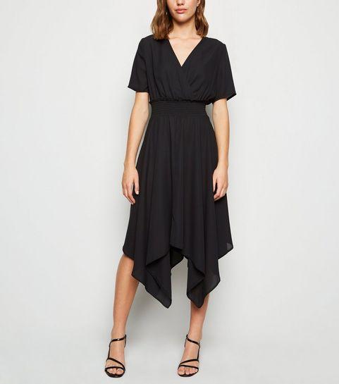 6034f3878 ... Black Shirred Waist Hanky Hem Midi Dress ...