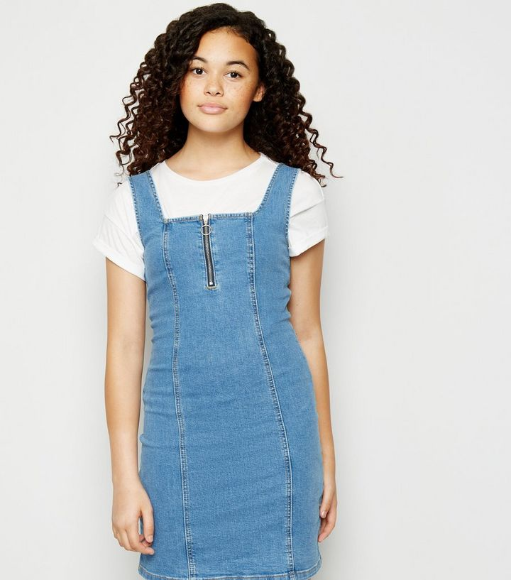 e02c7a627f6 Girls Blue Zip Denim Bodycon Dress Add to Saved Items Remove from Saved  Items