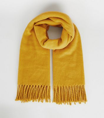 Yellow Tassel Trim Scarf by New Look
