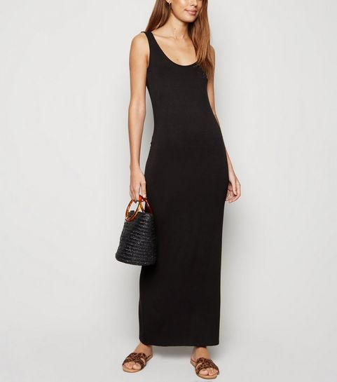 85d4c784724 Black Sleeveless Jersey Maxi Dress · Black Sleeveless Jersey Maxi Dress ...
