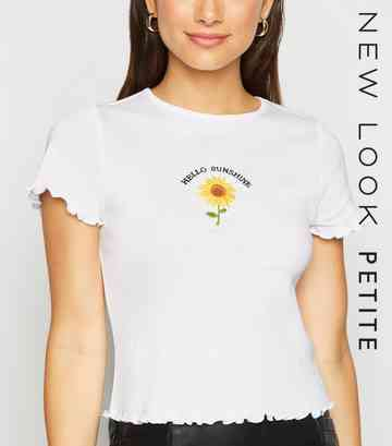 Petite White Hello Sunshine Slogan T-Shirt
