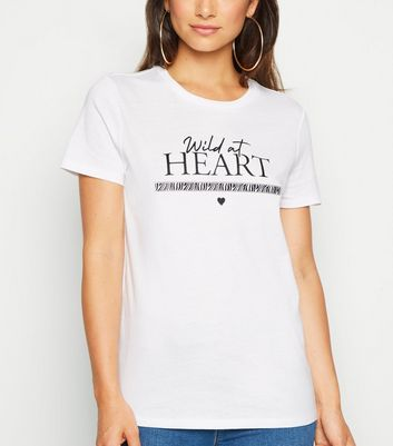 Petite White Wild at Heart Slogan Tape Trim T-Shirt
