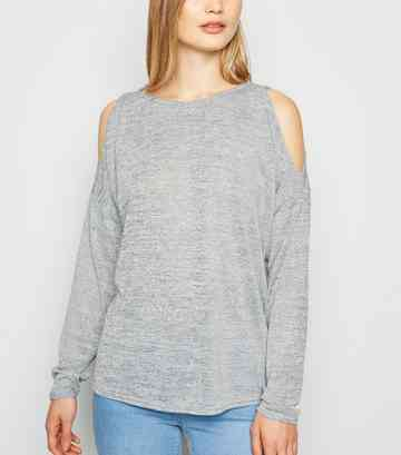 Graues, langärmliges Cold-Shoulder-Top