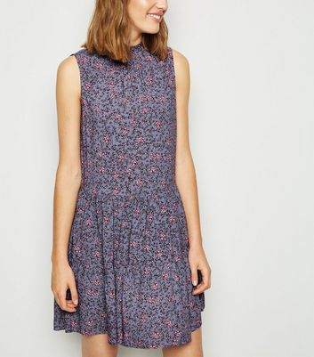 Purple Floral Frill Neck Smock Dress