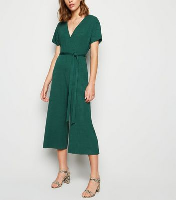 Dark Green Ribbed Jersey Wrap Jumpsuit