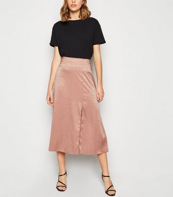 Mid Pink Satin Animal Jacquard Midi Skirt
