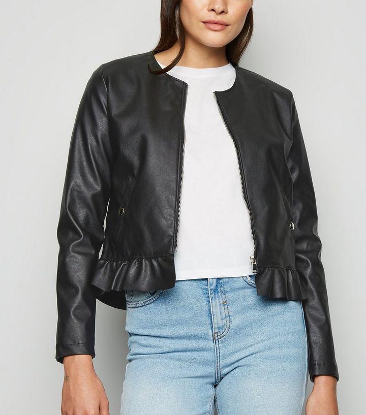 e4208fc1a9fa3 Urban Bliss Black Leather-Look Peplum Jacket   New Look