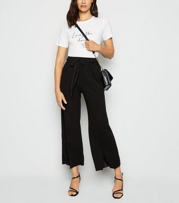 Urban Bliss Black Split Hem Trousers