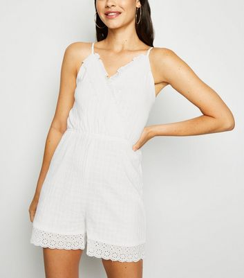 Urban Bliss White Broderie Frill Playsuit