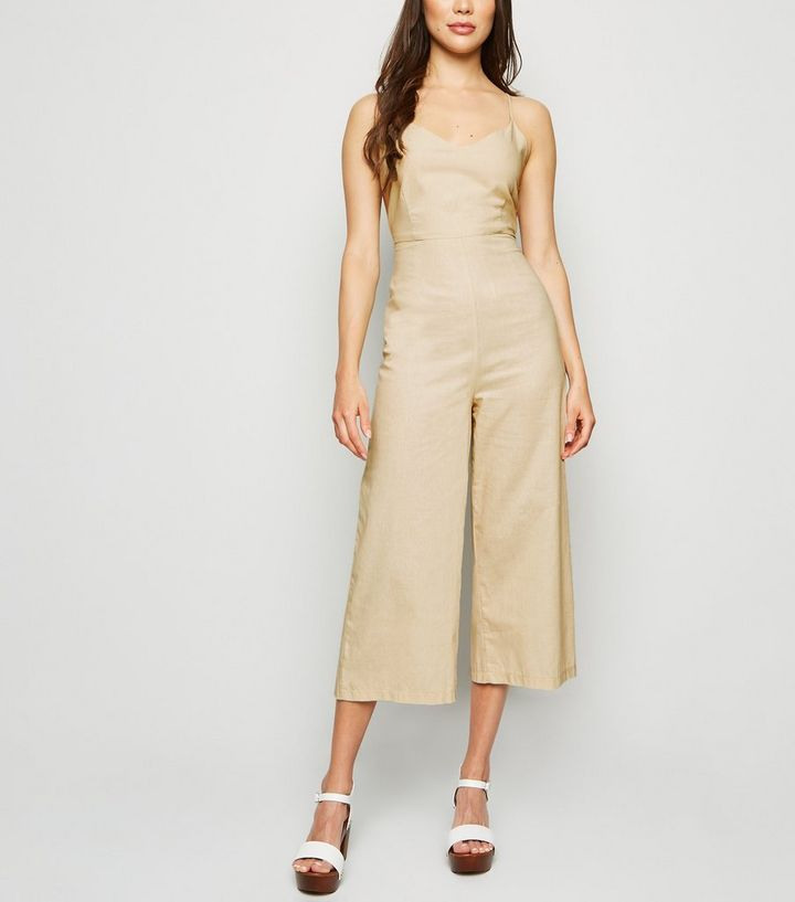 cca5c6157afe2 Urban Bliss Cream Linen Look Tie Back Jumpsuit Add to Saved Items Remove  from Saved Items
