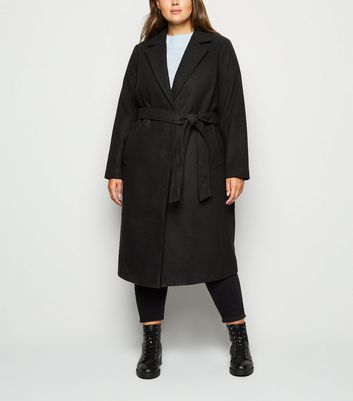 Curves Black Belted Longline Coat by New Look
