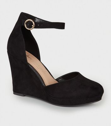 Wide Fit Black Suedette Wedge Courts