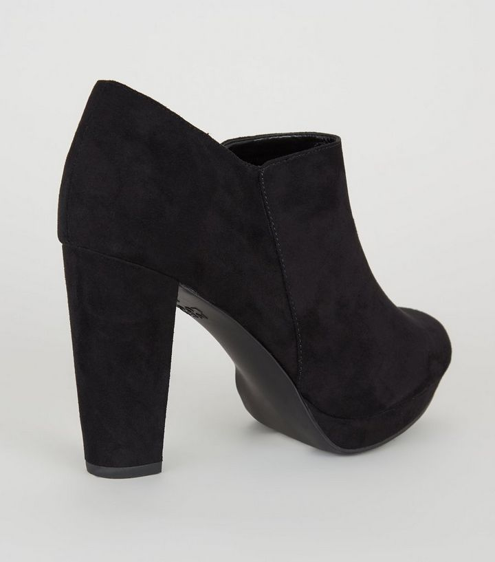 fb2c2b76500 Wide Fit Black Suedette Platform Shoe Boots Add to Saved Items Remove from  Saved Items