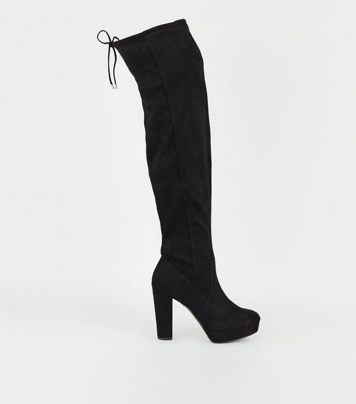 4159ffeeb59 Wide Fit Black Platform Over the Knee Boots Add to Saved Items Remove from  Saved Items