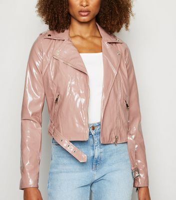 Urban Bliss Mid Pink Patent Biker Jacket