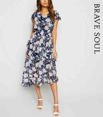 a463341a Brave Soul Blue Floral Tiered Hem Midi Dress ...