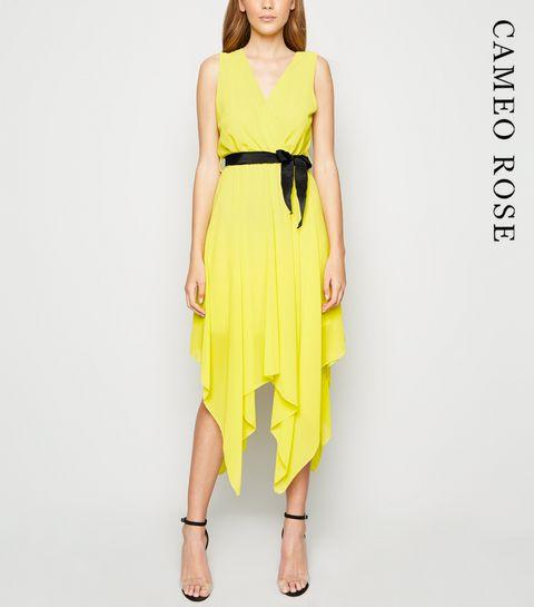 8f557feb5da8 ... Cameo Rose Yellow Tie Waist Wrap Midi Dress ...