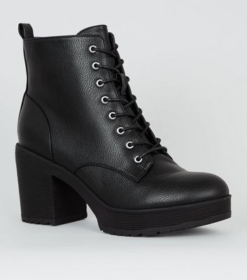 Black Chunky Heel Ankle Boots   New Look