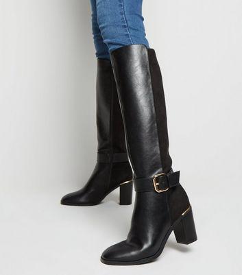 Black Leather-Look Heeled Knee High