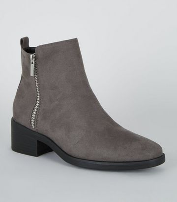 Grey Suedette Low Block Heel Ankle Boots