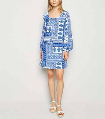 Apricot Blue Scarf Print Shift Dress