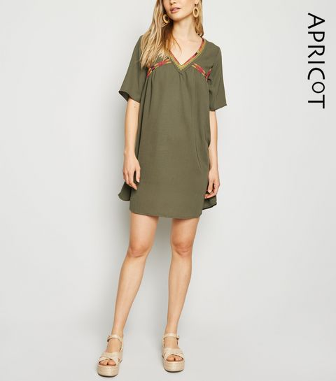 cb92106f84c98c Apricot Khaki Embroidered Smock Dress · Apricot Khaki Embroidered Smock  Dress ...