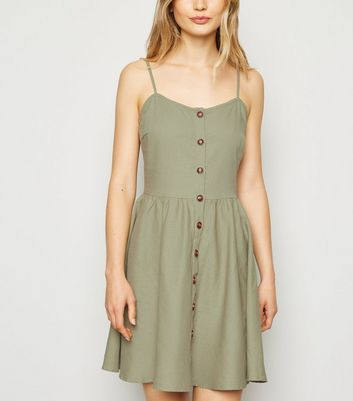 Apricot Khaki Button Up Skater Dress