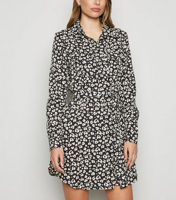 Brave Soul Black Animal Print Shirt Dress