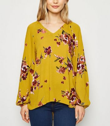 Apricot Yellow Floral V Neck Top