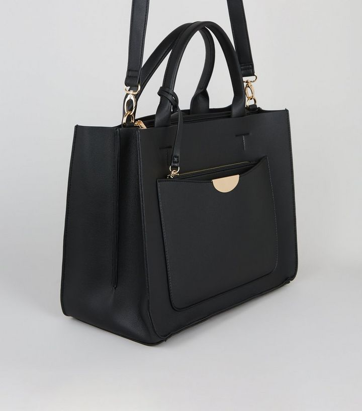 Black Leather Look Laptop Bag New