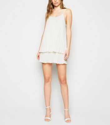 White Pleated Layered Slip Dress