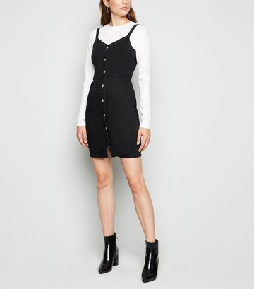 Black Denim Button Up Bodycon Dress
