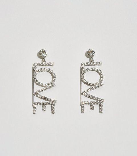 be06cc92b Silver Diamanté Love Drop Earrings · Silver Diamanté Love Drop Earrings ...