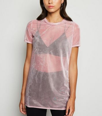 Pink Sheer Metallic Mesh T-Shirt