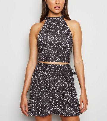 Black Spot Ruffle Trim Skirt