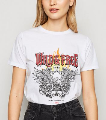 White Wild and Free Rock Slogan T-Shirt