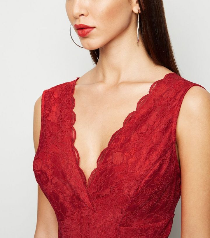 680cf04e449 Red Lace Plunge Bodysuit Add to Saved Items Remove from Saved Items