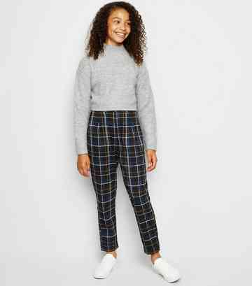 Black Check Print Trousers