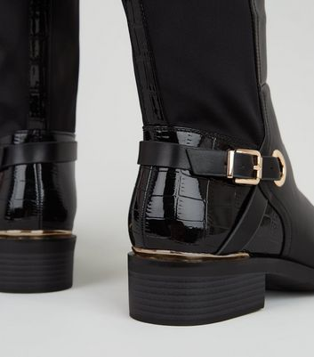 Extra Calf Fit Black Leather-Look Knee
