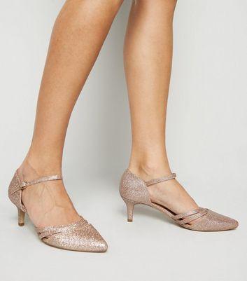 Wide Fit Rose Gold Glitter Kitten Heels