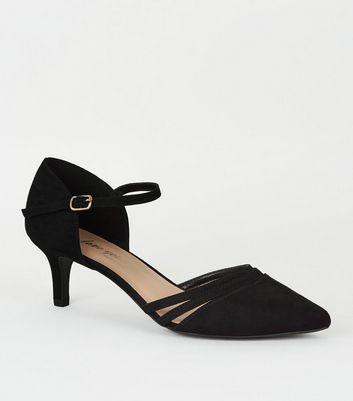 Wide Fit Black Suedette Kitten Heels
