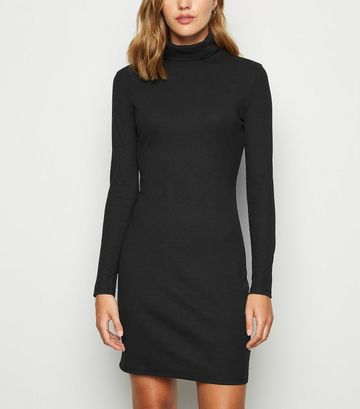 Black Ribbed Roll Neck Bodycon Dress