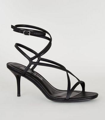 Black Leather-Look Strappy Mid Stiletto